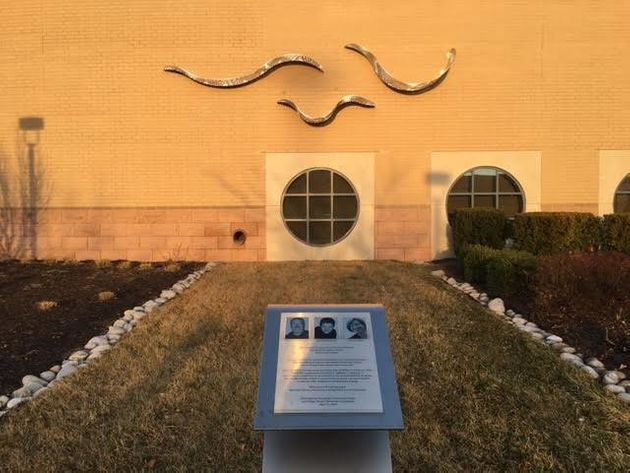 The graceful sculpture at the Jewish Community Center of Greater Kansas City is a memorial to the three...