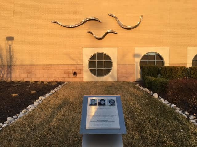 The graceful sculpture at the Jewish Community Center of Greater Kansas City is a memorial to the three lives lost in the 201