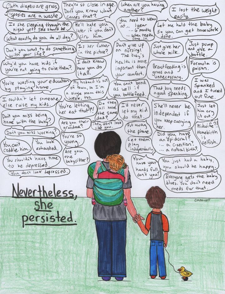 """Artist Courtney Privett posted a """"mom edition"""" of her """"Nevertheless, she persisted"""" artwork."""