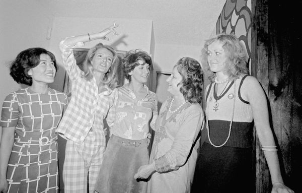 In this photo from 1963, feminist friends from all over the world gather at the home of Women's Liberation leader Betty Fried