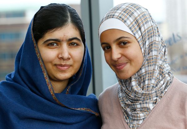 Activist Malala Yousefzai and activist and Syrian refugee Muzoon Almellehan met in 2013 in a dust-blown refugee camp in