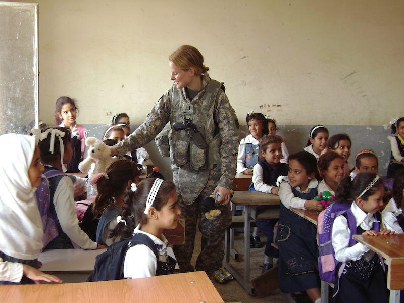 Theresa visiting a girls school in Numaniyah, Iraq