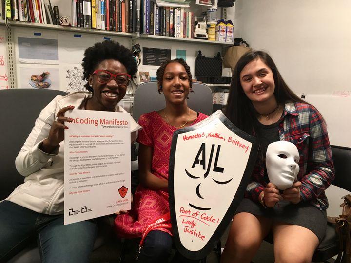 Joy Buolamwini (left) with ZUMIX's Keneisha Germain (center) and Manuela Melguizo (right).