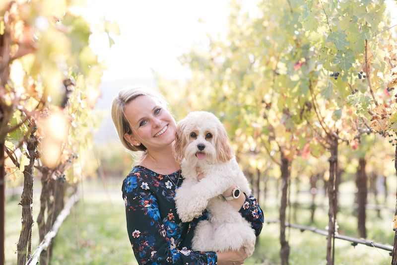 "Theresa and Waffles pictured in Napa Valley, California; <em>Photo Credit: Kristen Brown at </em><a rel=""nofollow"" href=""http"