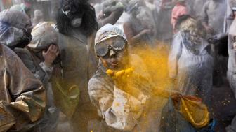 "Revellers celebrate ""Ash Monday"" by participating in a colourful ""flour war"", a traditional festivity marking the end of the carnival season and the start of the 40-day Lent period until the Orthodox Easter,in the port town of Galaxidi, Greece, February 27, 2017. REUTERS/Alkis Konstantinidis     TPX IMAGES OF THE DAY"