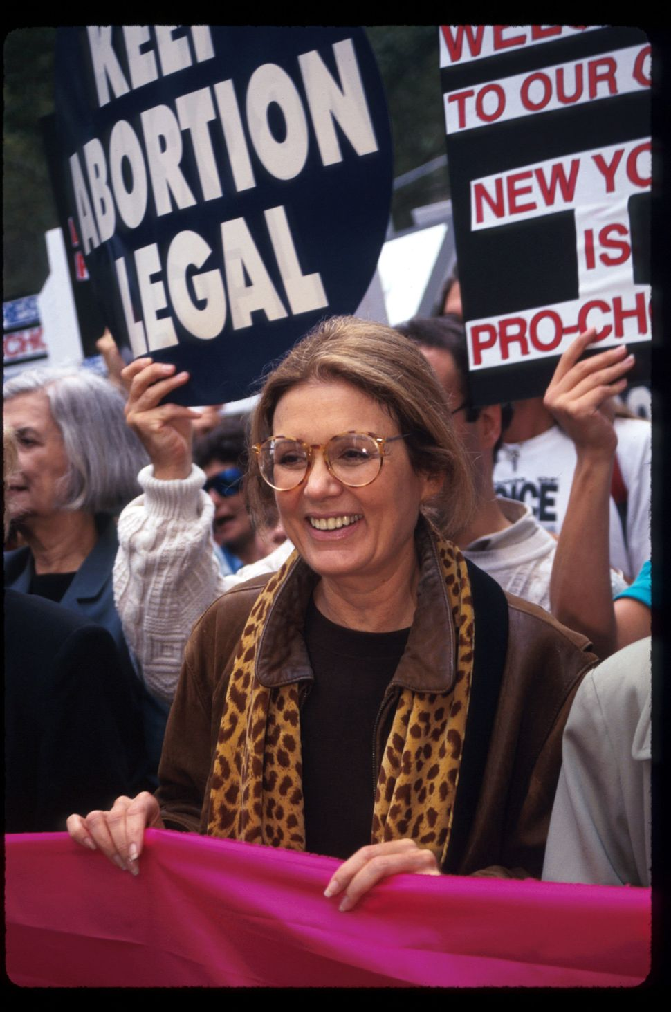 'Ms.' magazine founder Gloria Steinem marches at the Women's Rights rally October 7, 1995 in New York City. The rally protest