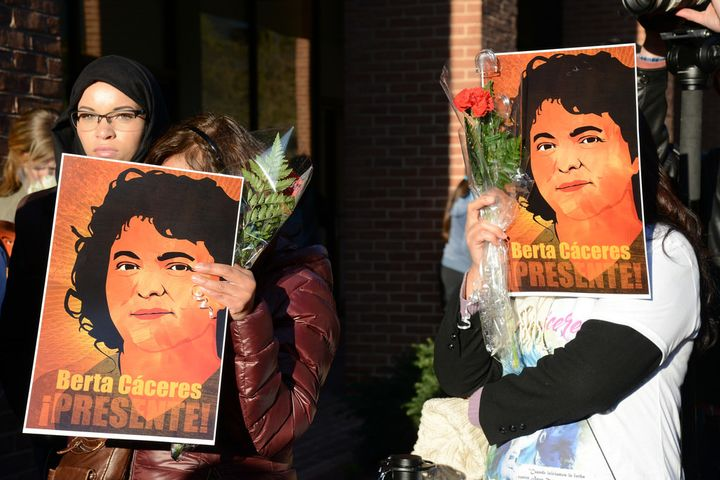 Protestors call for justice for Honduran Human Rights Defender Berta Cáceres, murdered a year ago tomorrow.