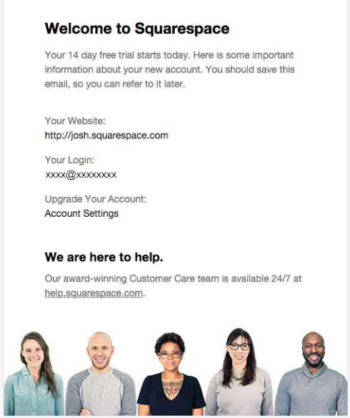 Squarespace welcome email