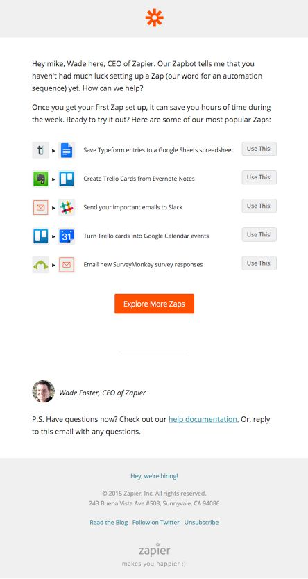 Zapier usage tips email