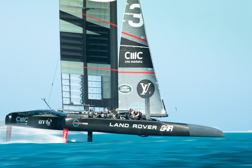 The team training on their America's Cup Class race boat, Bermuda