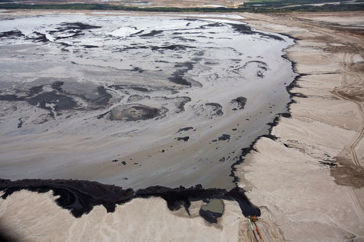 A Shell tailings pond at itstar sands operations near Fort McMurray, Alberta, on Sept. 17, 2014. Shell is one of the la