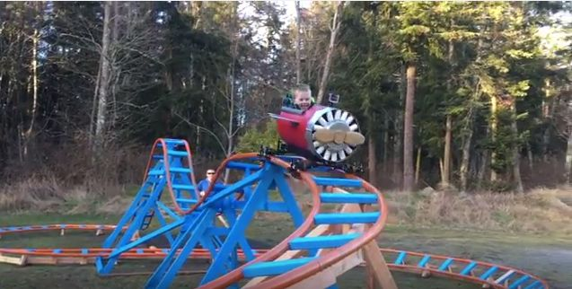 Navy pilot Scott Brazelton built an awesome airplane-themed roller coaster for his 3-year-old son, Wyatt.