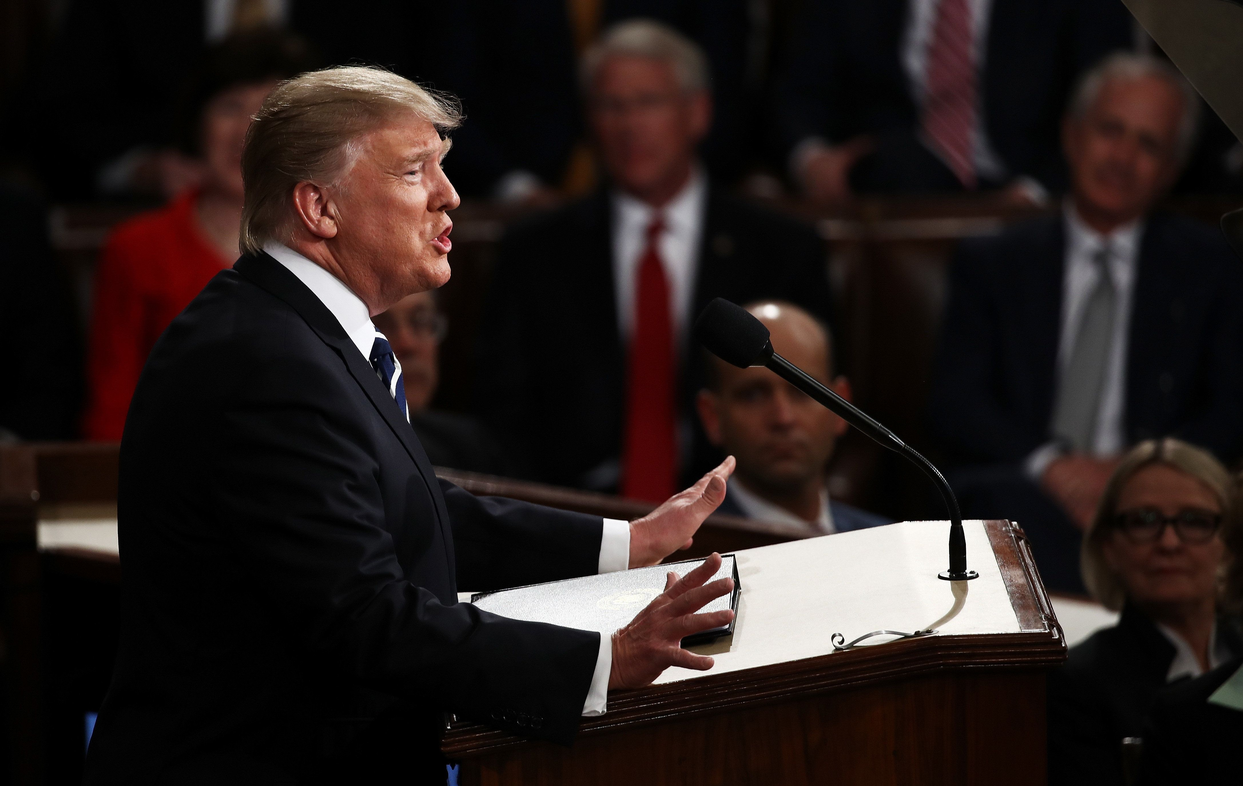 WASHINGTON, DC - FEBRUARY 28:  U.S. President Donald Trump arrives to addresses a joint session of the U.S. Congress on February 28, 2017 in the House chamber of  the U.S. Capitol in Washington, DC. Trump's first address to Congress is expected to focus on national security, tax and regulatory reform, the economy, and healthcare.  (Photo by Win McNamee/Getty Images)