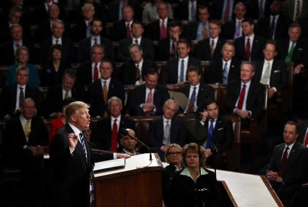 President Donald Trump arrives to addresses a joint session of the U.S. Congress onTuesday.