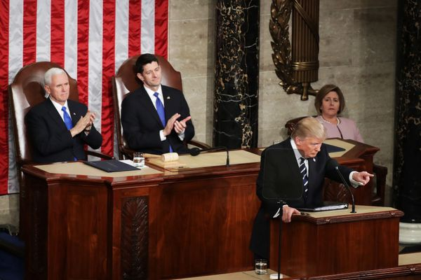 President Donald Trump points during his speech to a joint session of Congress.