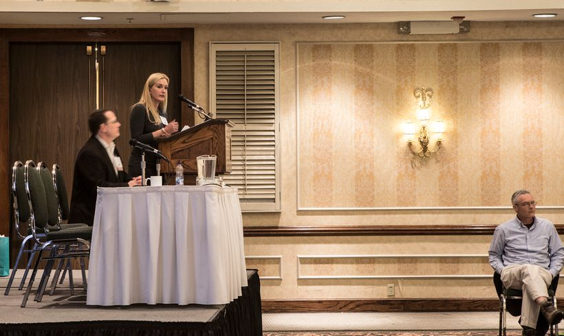 Carey Gillam addresses attendees at COG Toronto's annual conference (2017).