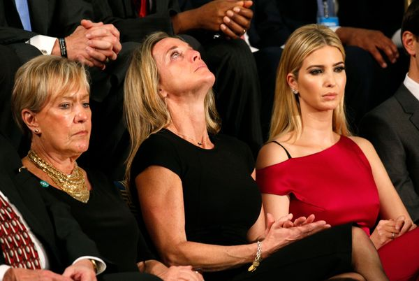 "Carryn Owens (C), widow of Senior Chief Petty Officer William ""Ryan"" Owens, sits with Ivanka Trump (R), daughter of President"