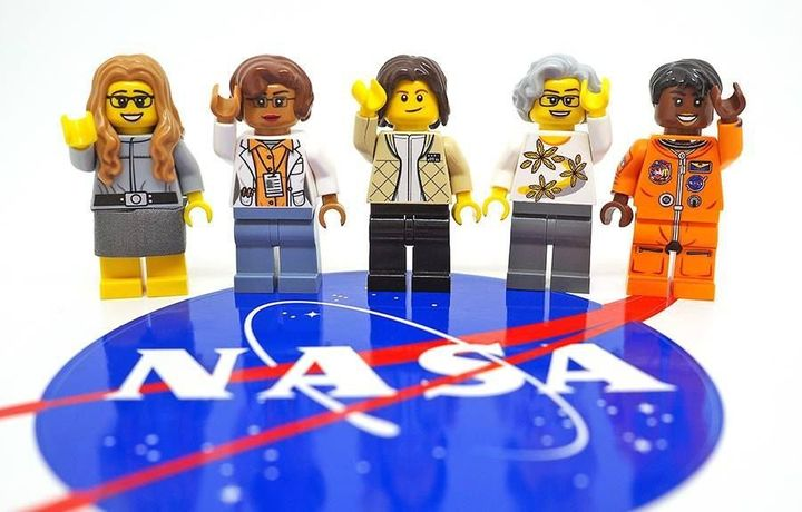 The set depicts, from left, computer scientist Margaret Hamilton, mathematician Katherine Johnson, astronaut Sally Ride, astr