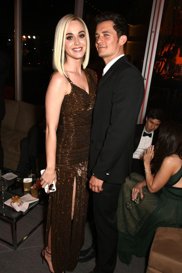 Perry and Bloom pose inside the Vanity Fair Oscar Party on