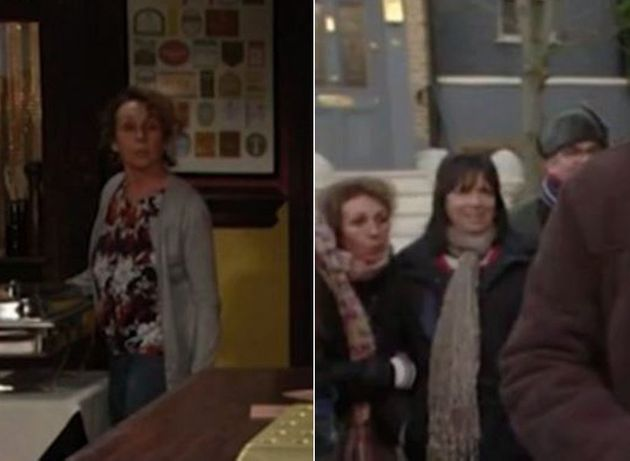 Barmaid Tracey was in two places at the same time on Tuesday's