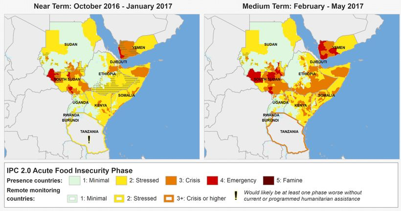 Food security situation in May 2017. IPC Phase 2 – Stressed (yellow); Phase 3 – Crisis (orange) and Phase 4 – Emergency (red)