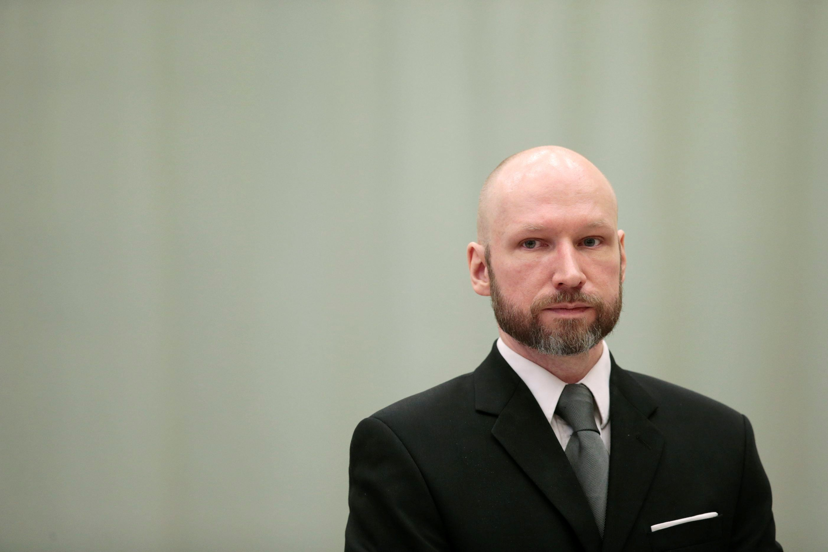 Anders Behring Breivik is pictured on the last day of the appeal case in Borgarting Court of Appeal at Telemark prison in Skien, Norway, January 18, 2017. NTB Scanpix/Lise Aaserud via REUTERS        ATTENTION EDITORS - THIS IMAGE WAS PROVIDED BY A THIRD PARTY. FOR EDITORIAL USE ONLY. NOT FOR SALE FOR MARKETING OR ADVERTISING CAMPAIGNS. NORWAY OUT. NO COMMERCIAL OR EDITORIAL SALES IN NORWAY. NO COMMERCIAL SALES.