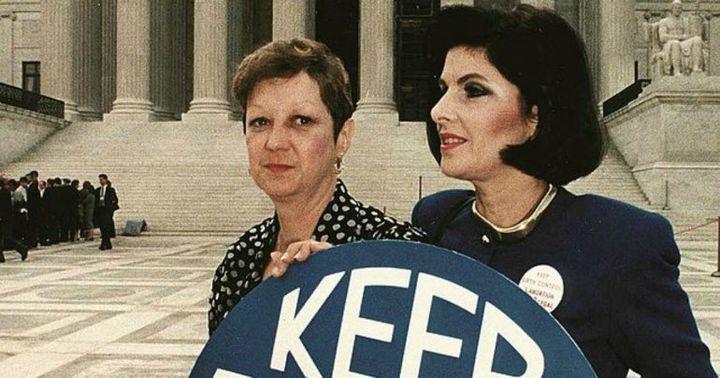 Norma McCorvey and Gloria Allred, 1990