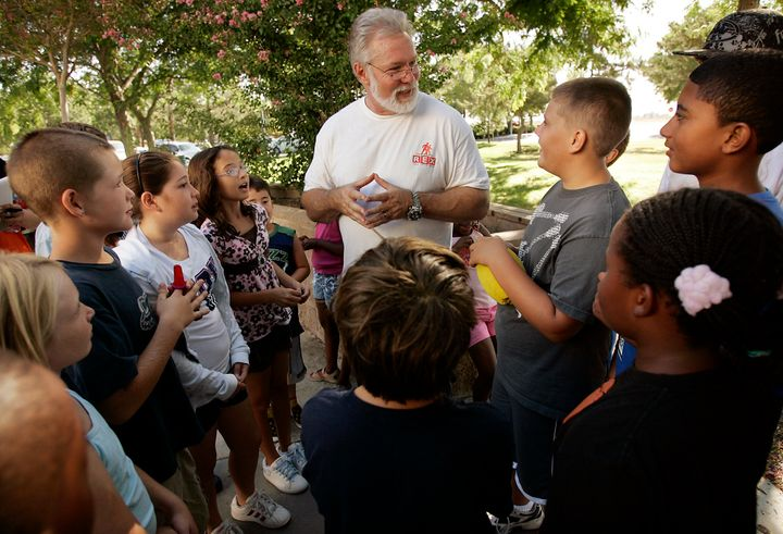R. Rex Parris, mayor of Lancaster, Calif., chats with students.