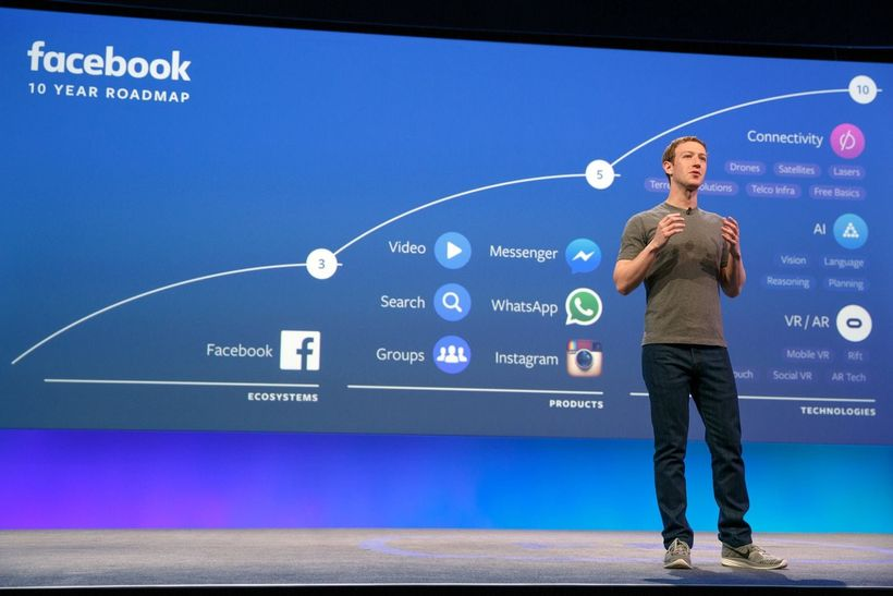 Mark Zuckerberg delivers his keynote address at Facebook's F8 Developers Conference in 2016 in San Francisco