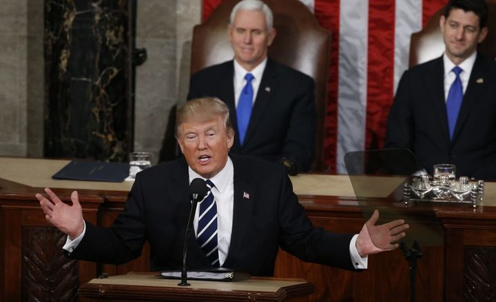 Donald Trump makes his first address to a joint session of Congress on Feb. 28, 2017