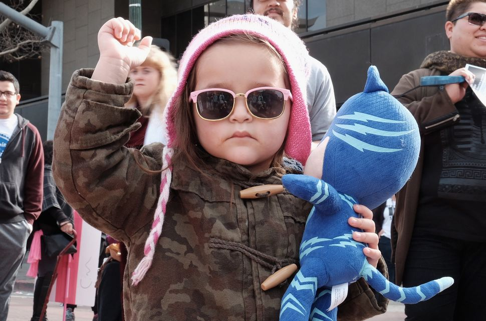 A child marches during the Women's March on Jan.21, 2017 in Los Angeles, California.