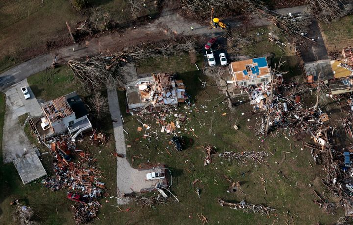 Damaged and destroyed homes lie in a small subdivision off Highway 61 in Perryville on Wednesday, March 1, 2017, the morning