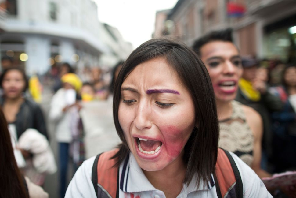 Feminist activists protest on the streets during a demonstration called 'Vivas Nos Queremos' to demand justice for all women