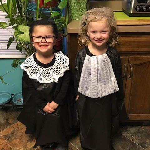 "Candice Wilkins' twins, Ruby and Cora, dressed as Supreme Court Justice Ruth Bader Ginsburg and retired Supreme Court Justice Sandra Day O'Connor for ""Superhero Day"" at school."
