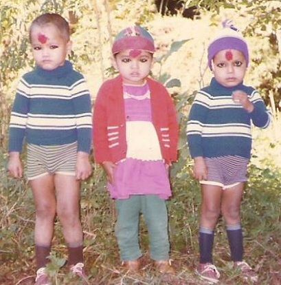 A young Kalpana (middle) with two of her cousins.