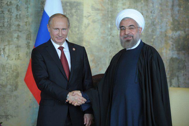 Russian President Vladimir Putin with Iranian President Hassan Rouhani