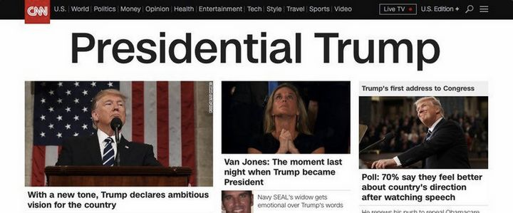 "CNN highlighted Trump's ""presidential"" tone on Wednesday's homepage, via @JuddLegum."