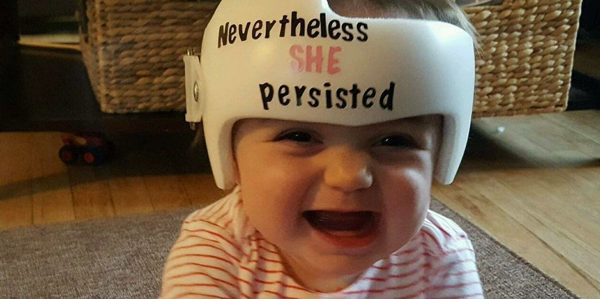 Former NICU Baby Sports Helmet With Totally Fitting Phrase