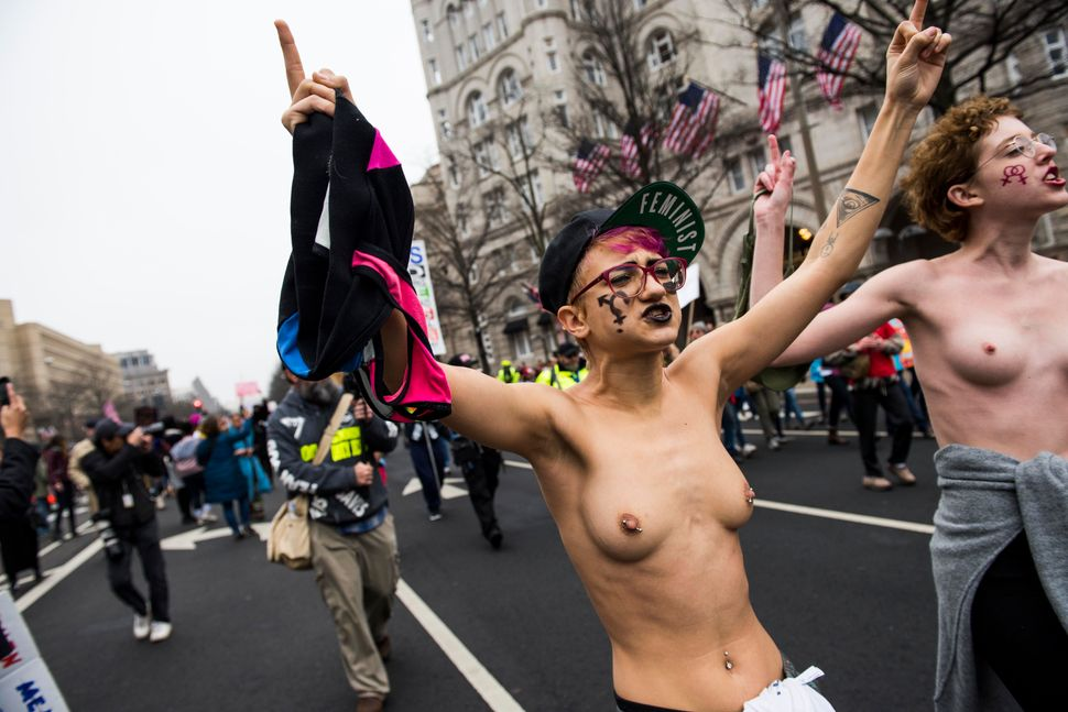 Protestors take part in the Women's March on Washington in Washington D.C. on Saturday Jan. 21, 2017.