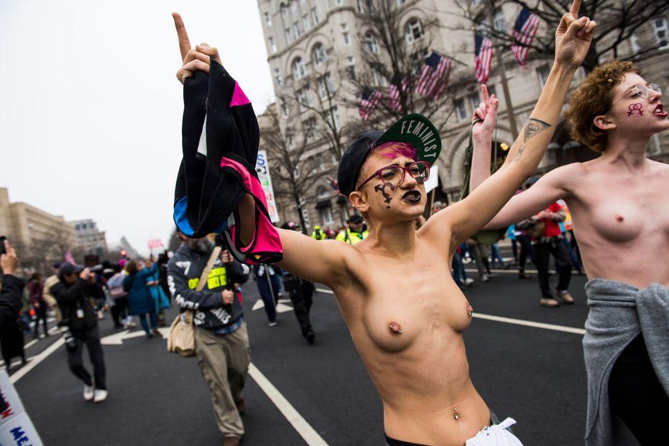 Protestors take part inthe Women's March on Washington in Washington D.C. on Saturday Jan. 21, 2017.