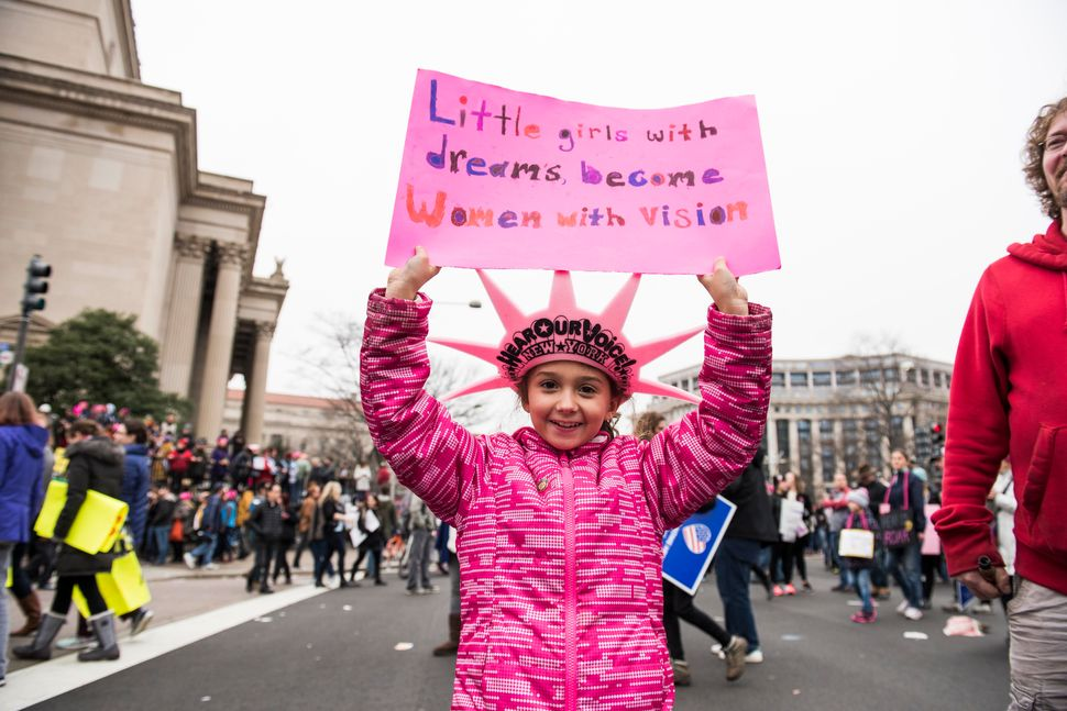 A protestor takes part inthe Women's March on Washington in Washington D.C. on Saturday Jan. 21, 2017.