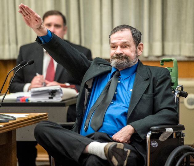 Frazier Glenn Millermakes a Nazi salute after being found guilty on Aug. 31, 2015, in the deaths...