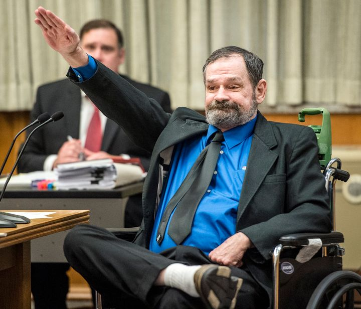 Frazier Glenn Miller makes a Nazi salute after being found guilty on Aug. 31, 2015, in the deaths of Reat Griffin Underw