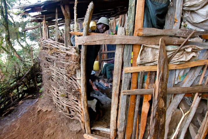 David Kibor, 57, has lived in hiding in a makeshift cave dwelling for the last three years after his house in Embobut Forest