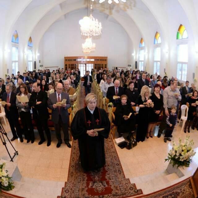 Rola Sleiman in the Presbyterian Church in Tripoli during her ordination on February 26, 2017.