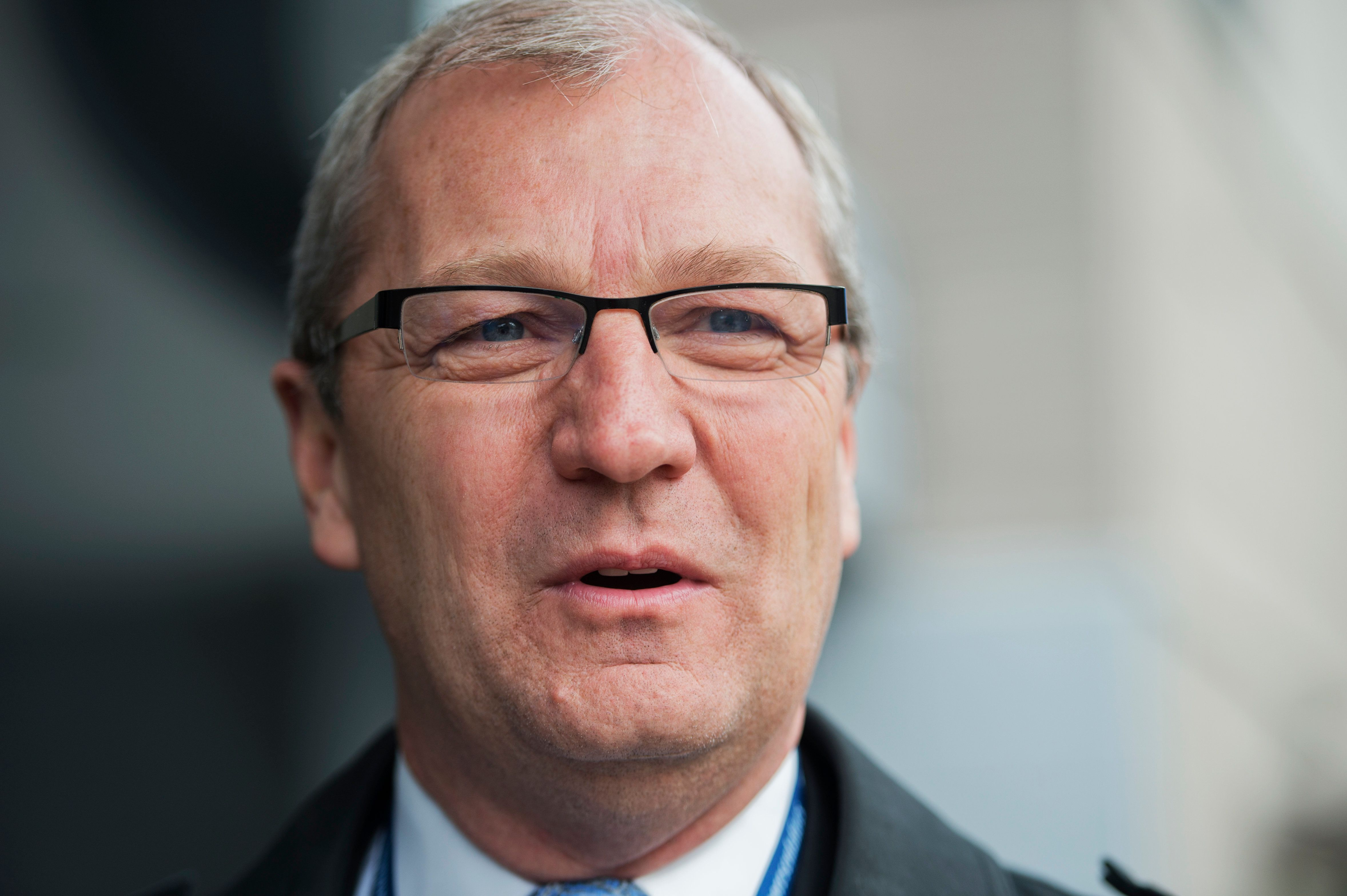 UNITED STATES - NOVEMBER 13:  Rep.-elect Kevin Cramer, R-N.D., speaks to the media outside of the Capitol Hill Hotel in SE, where members-elect were checking in for new member orientation. (Photo By Tom Williams/CQ Roll Call)