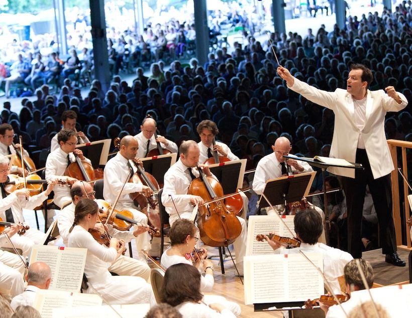 Andris Nelsons conducting the Boston Symphony Orchestra at Tanglewood