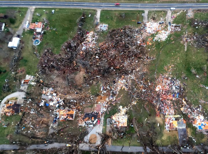 Debris marks the spots where Tuesday's tornado destroyed homes in the Perryville, Missouri, on Wednesday, March 1 2017, along
