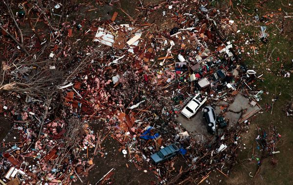 Debris marks the site of a home in a small subdivision off Highway 61 in Perryville, Missouri on Wednesday, March 1, 2017, th