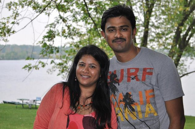 Sunayana Dumala pictured with her husband,Srinivas Kuchibhotla.Kuchibhotla, 32, was fatally...